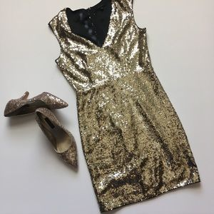 Miss Avenue gold sequins sleeveless mini